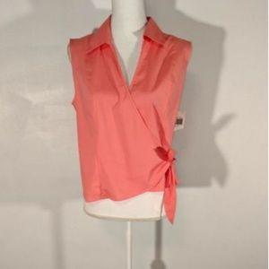 NWT Rafaella womens blouse wrap side tie peach 762